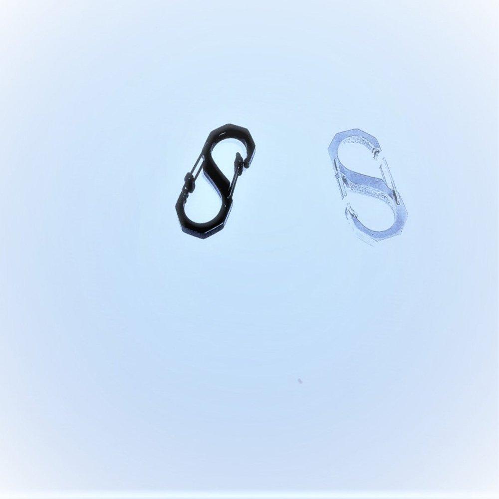 Side Lock Dual Carabiner   6cm Metal Hook   2 Pcs set