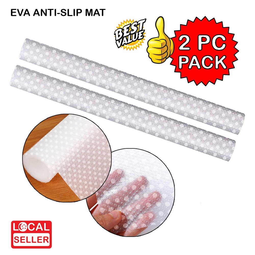 EVA Textured PVC Anti-Slip Mat Polka Dots Frosted Bubbles | Transparent | 45x150cm | 2 pc pack