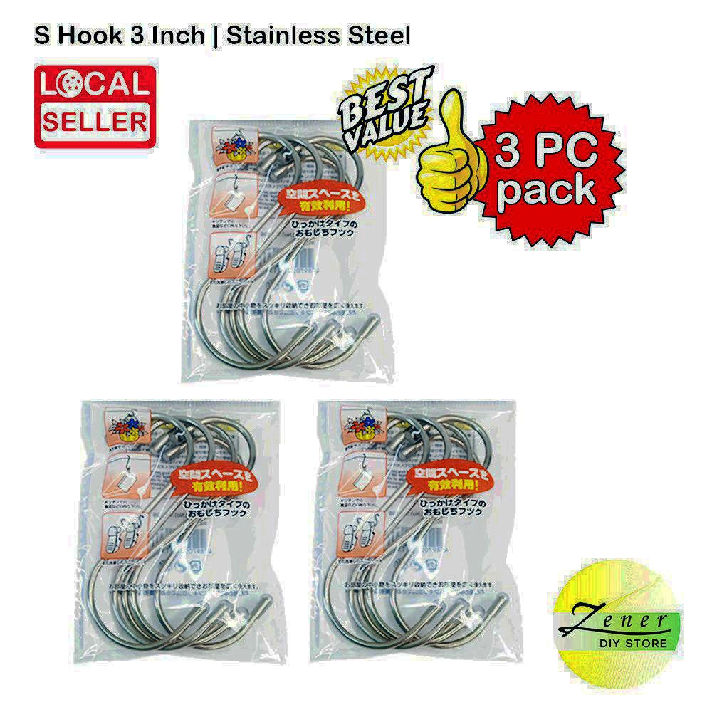 S Hook 3 inch   Stainless Steel   3 PACK SET