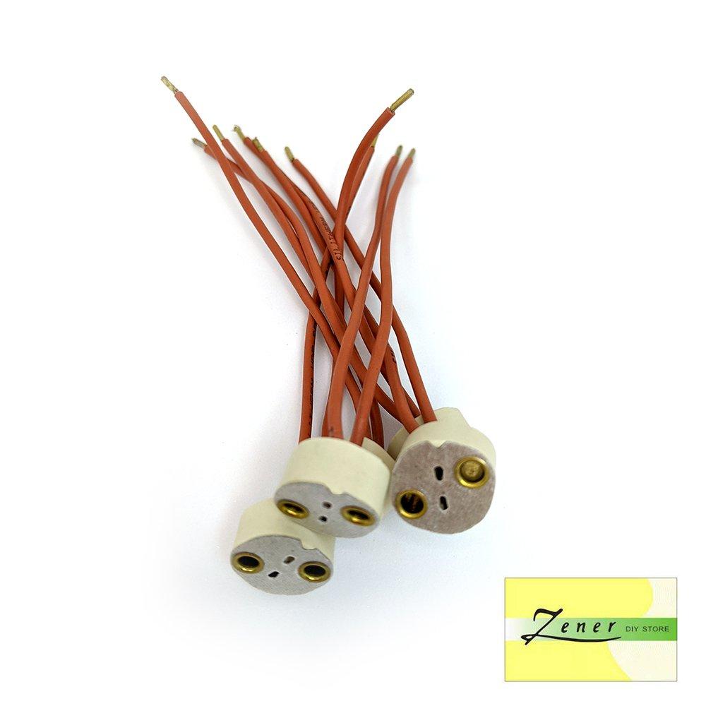 Halogen GU5.3 Ceramic Lamp Holder Wire Connector   5 PC PACK   Red
