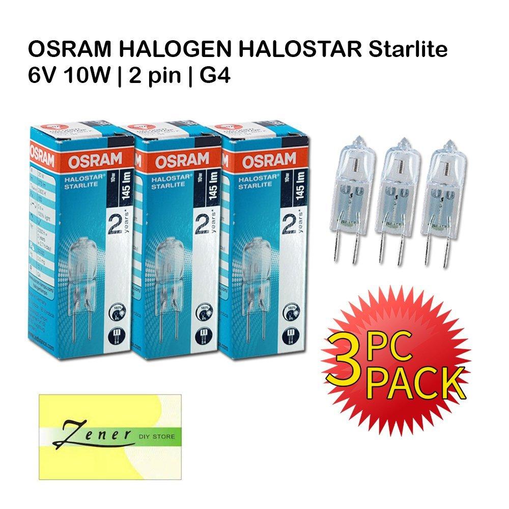 OSRAM Halostar Starlite 6V 10W   G4   2 Pin   Warm White   3 PC PACK