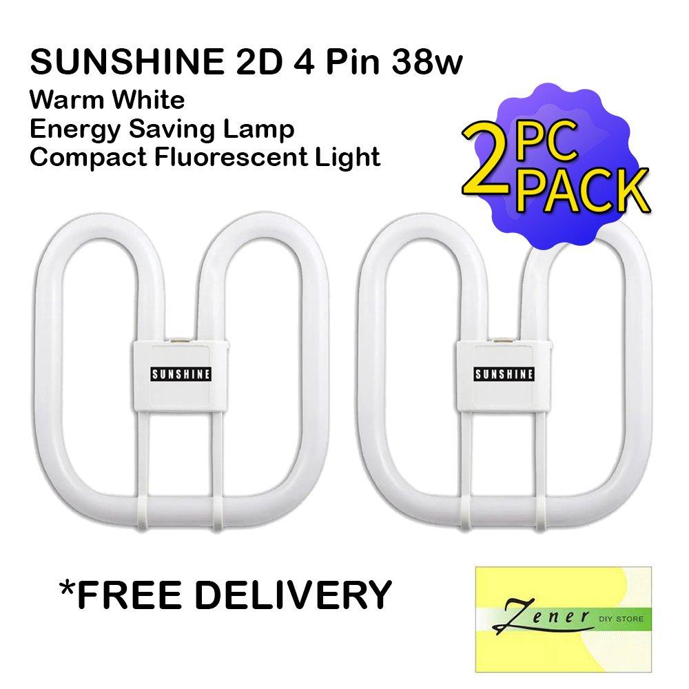 SUNSHINE 2D 4 Pin 38w Warm White | Energy Saving Lamp | Compact Fluorescent Light | 2 PC PACK