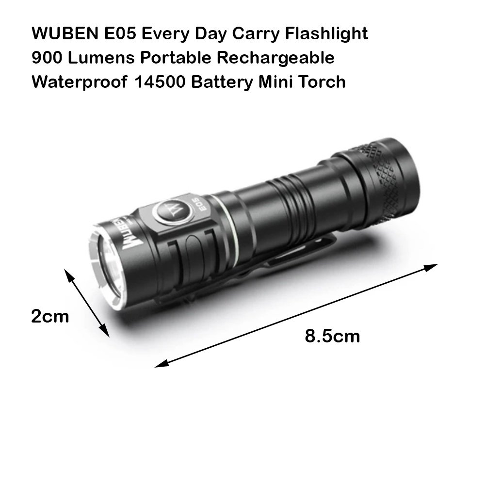 WUBEN E05 Every Day Carry Flashlight 900 Lumens Portable Rechargeable Waterproof 14500 Battery Mini Torch