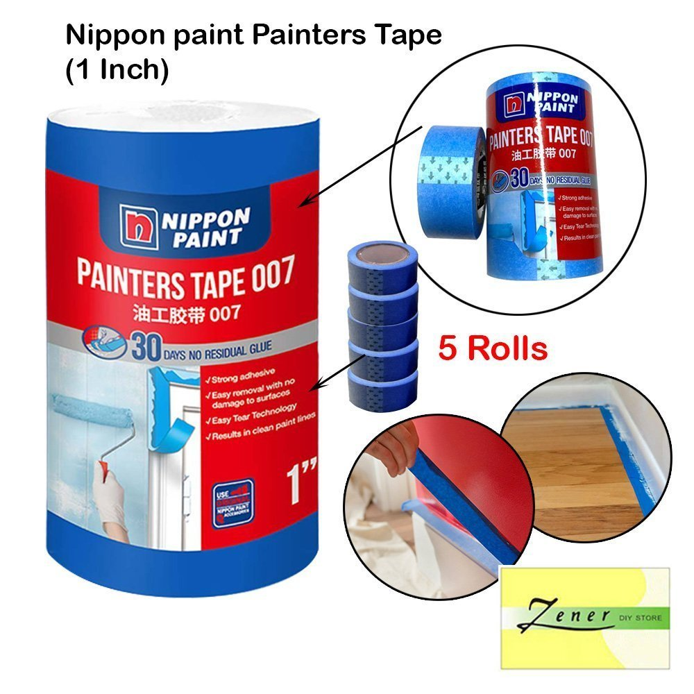 """Nippon paint Painters Tape (1"""" inch - 1 Tube ( 5 Rolls )"""