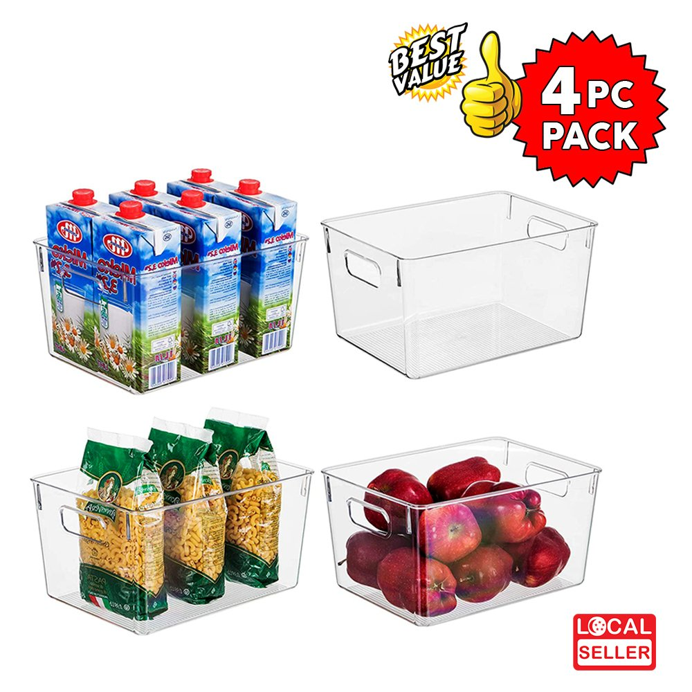 Clear Plastic Storage Box Organizer for Home, Fridge, Pantry & Kitchen , BPA Free, Food Safe | 4 Pc Pack