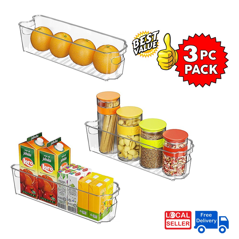 Clear Plastic Storage Box Organizer for Home, Fridge, Pantry & Kitchen BPA Free, Food Safe | 3 PC PACK