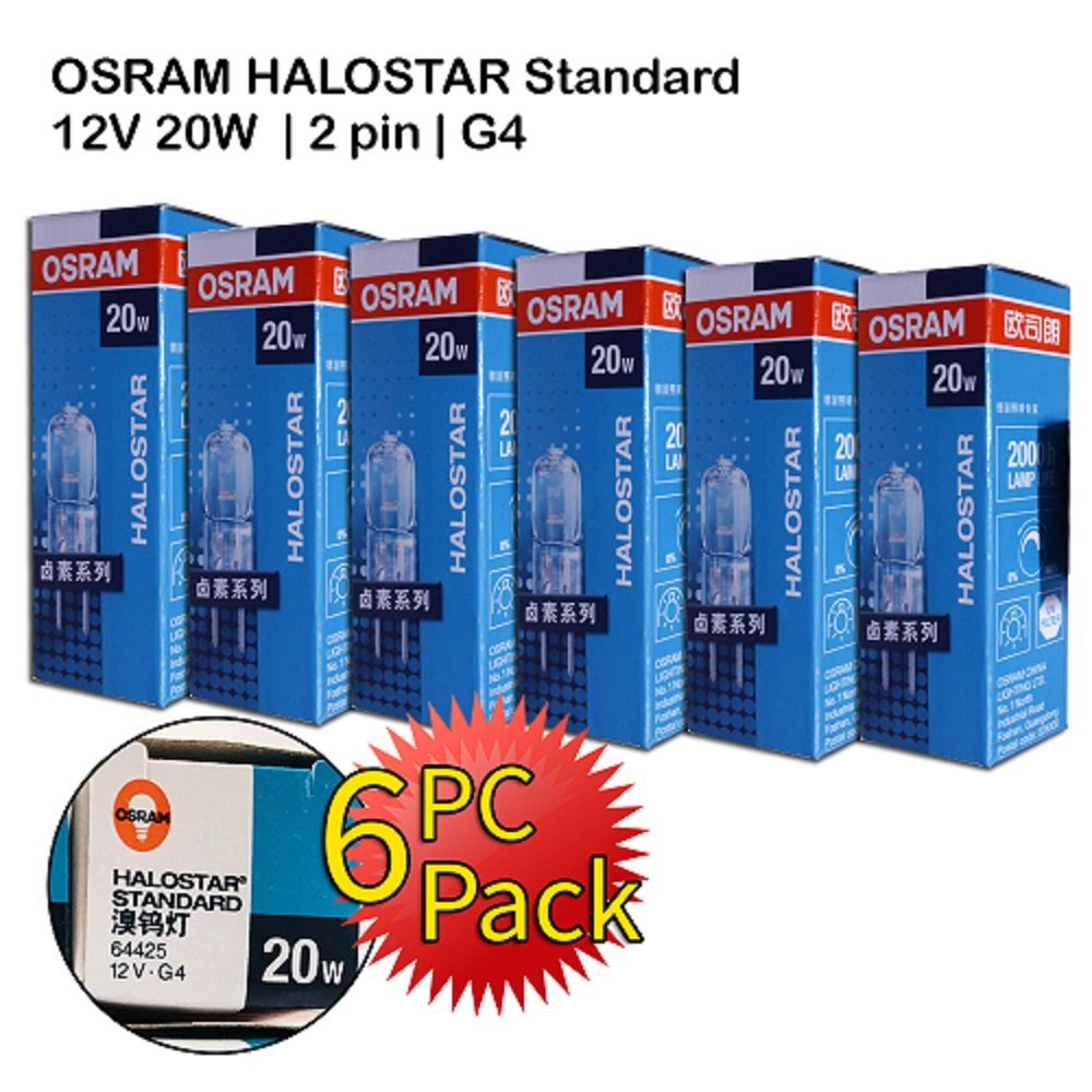 Osram Halogen   20W 12V G4   2 pin   Dimmable   Warm White   6 PC PACK