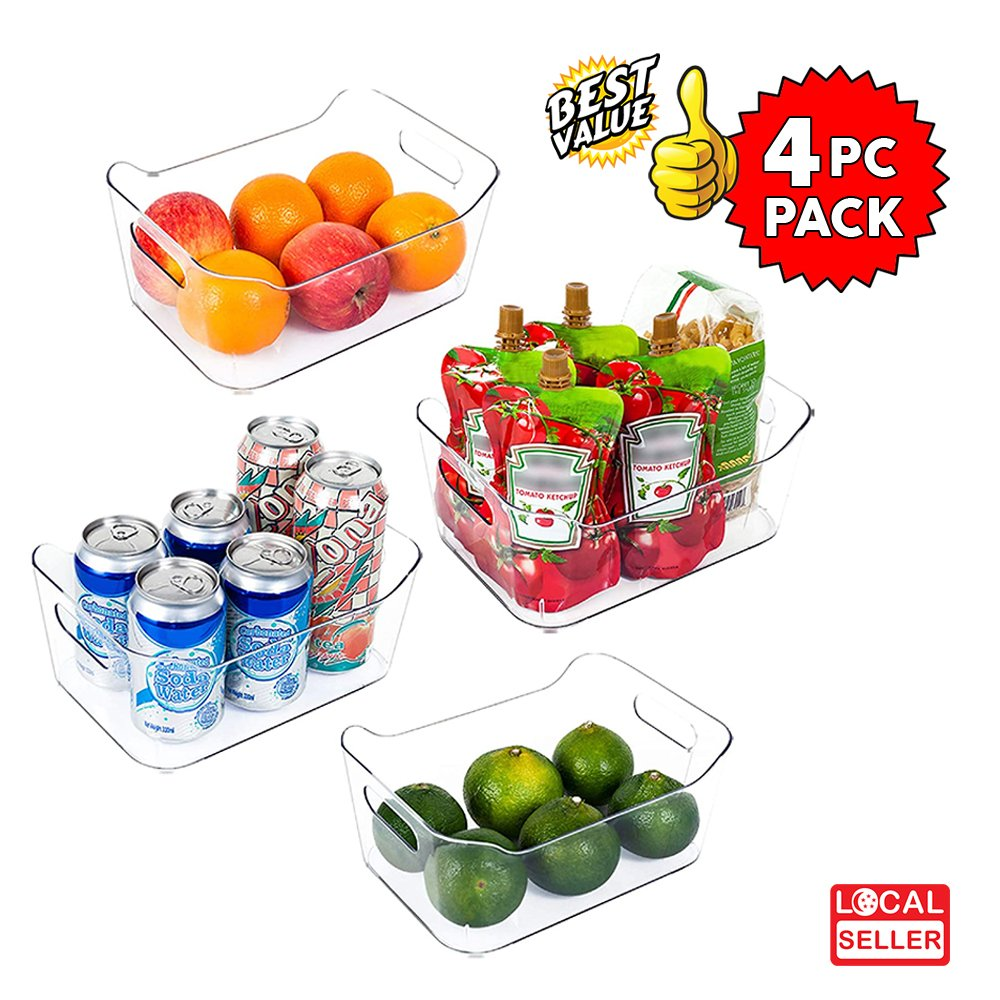 Clear Plastic Storage Box Organizer for Home, Fridge, Pantry & Kitchen , BPA Free, Food Safe | S size | 4 Pc Pack