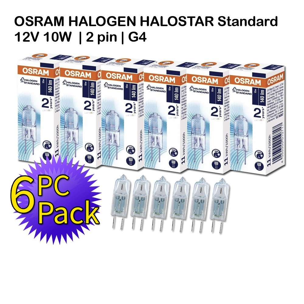 Osram HALOSTAR Standard | 12V 10W G4 | 2 pin | Warm White | 6 PC PACK