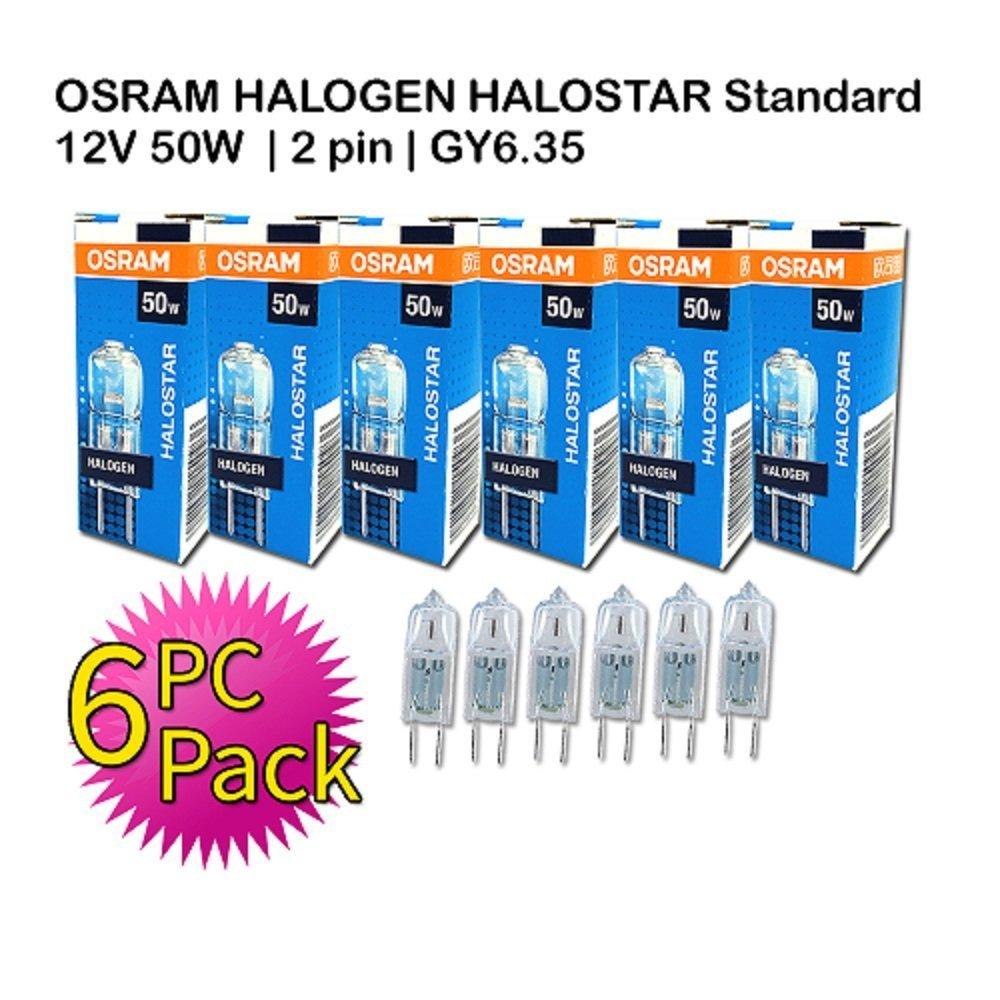 OSRAM HALOSTAR Standard 12V 50W GY 6.35   2 Pin   Warm White   6 PC PACK
