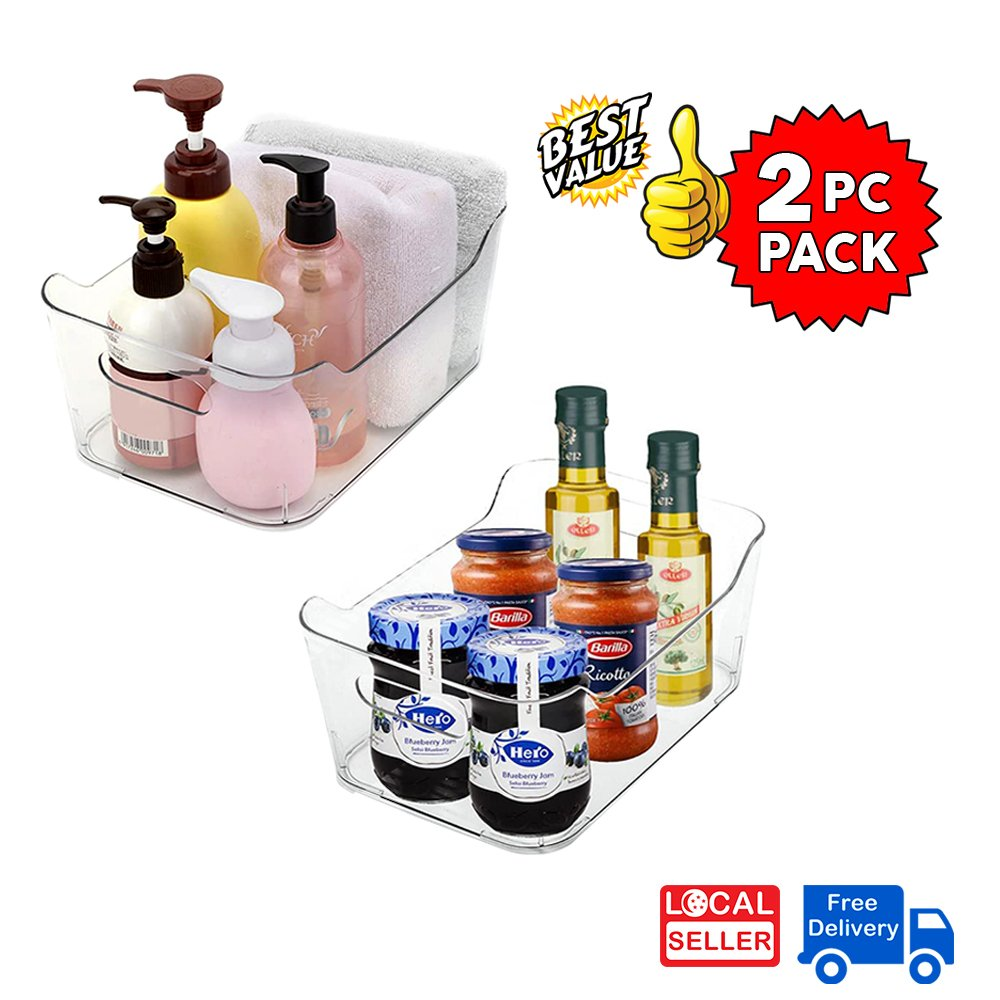 Clear Plastic Storage Box Organizer for Home, Fridge, Pantry & Kitchen BPA Free, Food Safe | L size | 2 PC PACK