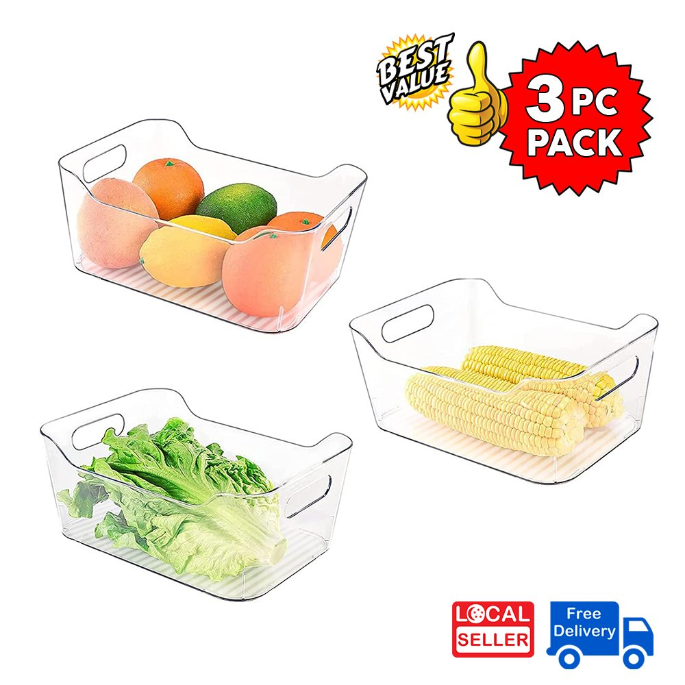 Clear Plastic Storage Box Organizer for Home, Fridge, Pantry & Kitchen BPA Free, Food Safe | M size | 3 PC PACK