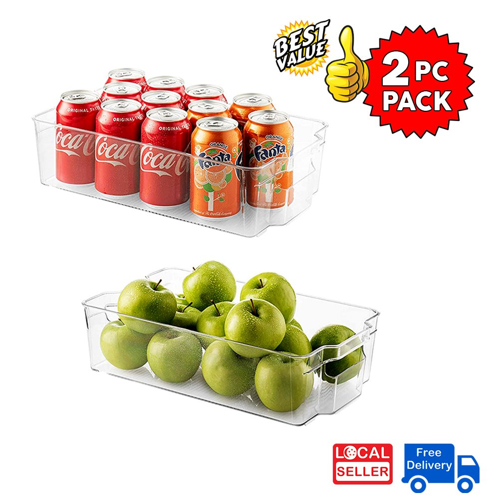 Clear Plastic Storage Box Organizer for Home, Fridge, Pantry & Kitchen , BPA Free, Food Safe | 2 Pc Pack